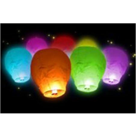 6 Lanternes volantes multi-couleurs