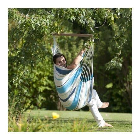 Hamac chaise simple Caribena blanc bleu