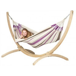 Set Hamac simple Caribeña pourpre et support bois Atlantico