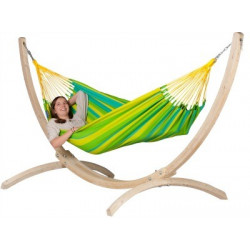 Set Hamac simple Sonrisa lime et support bois Atlantico