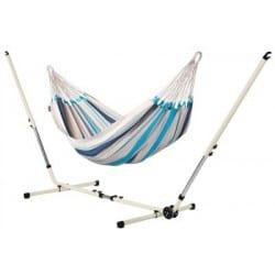 Set Hamac simple Caribeña bleu et support métal