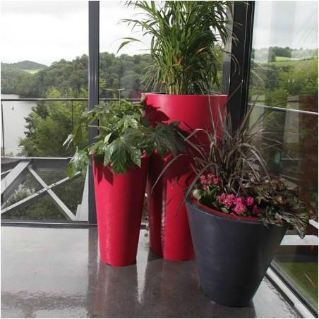 Pot de fleur conique bicolore Up 1 m avec réserve d'eau