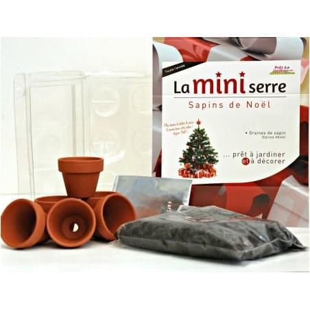Mini serre 6 pots sapins de Noël