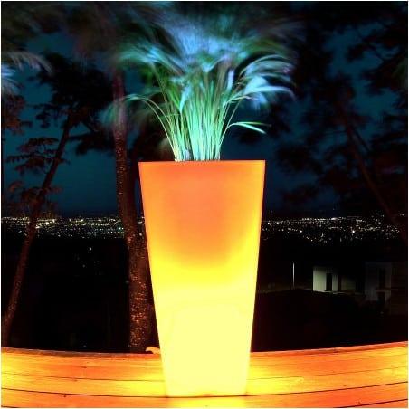 Pot de fleur lumineux haut carré bicolore 80cm