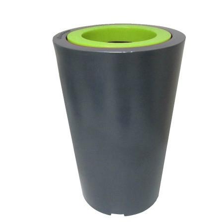 Pot de fleur Up noir 70 cm avec paroi intérieure verte
