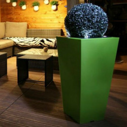 Pot de fleur carré lumineux LED haut 80cm