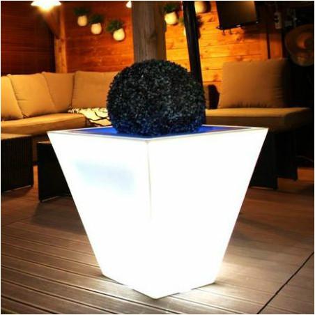 Pot de fleur lumineux carré bicolore 60 cm