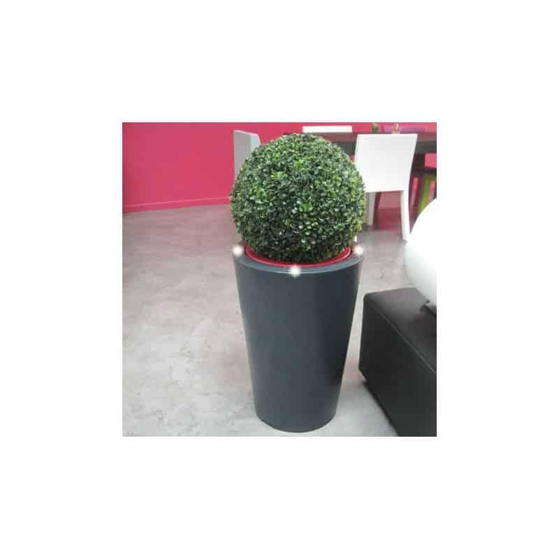 Pot de fleur lumineux bicolore conique LED - 70cm