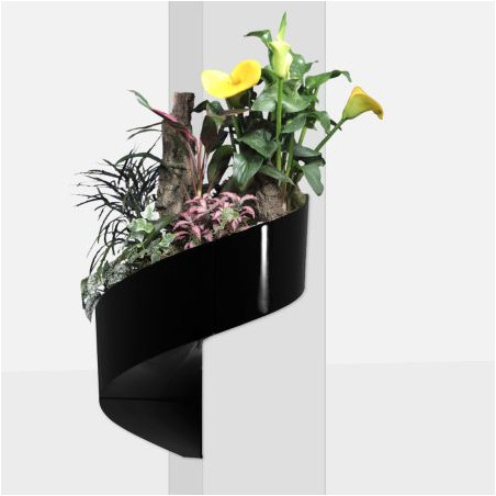 Pot de fleur mural design noir
