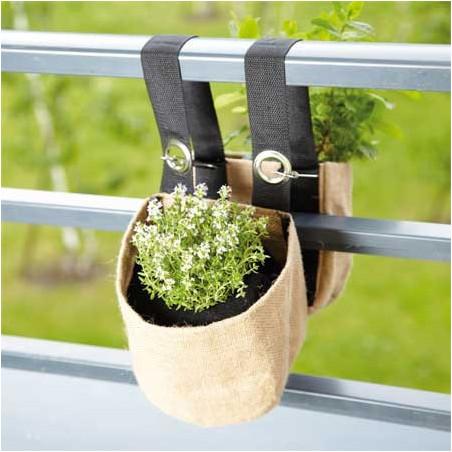 Double jardinière suspendue en toile de jute pour balcon
