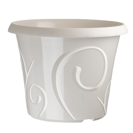 Lot de pots de fleur Volutes Blanc Perle 25 litres