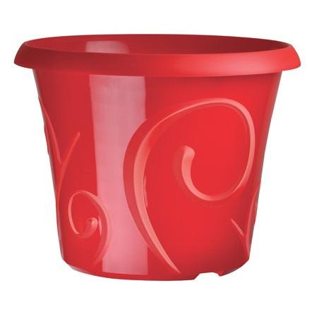 Pots de fleur 25 litres Volutes Rouge Grenadine + soucoupe