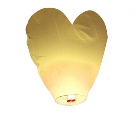 Lanterne volante coeur blanc (X1)