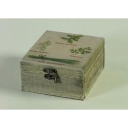 Herbes aromatiques et boite coloniale en bois