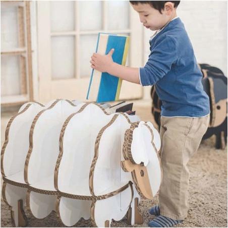 Bibliothèque enfant en carton Mouton Blanc