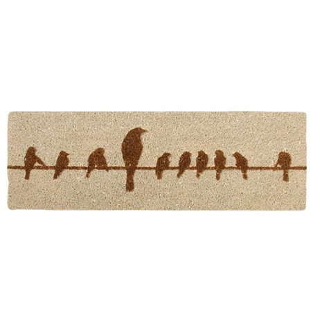 Tapis beige Oiseaux fibres/coco 75 x 25 cm