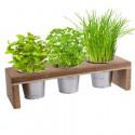Kit fines herbes en pots - support bois