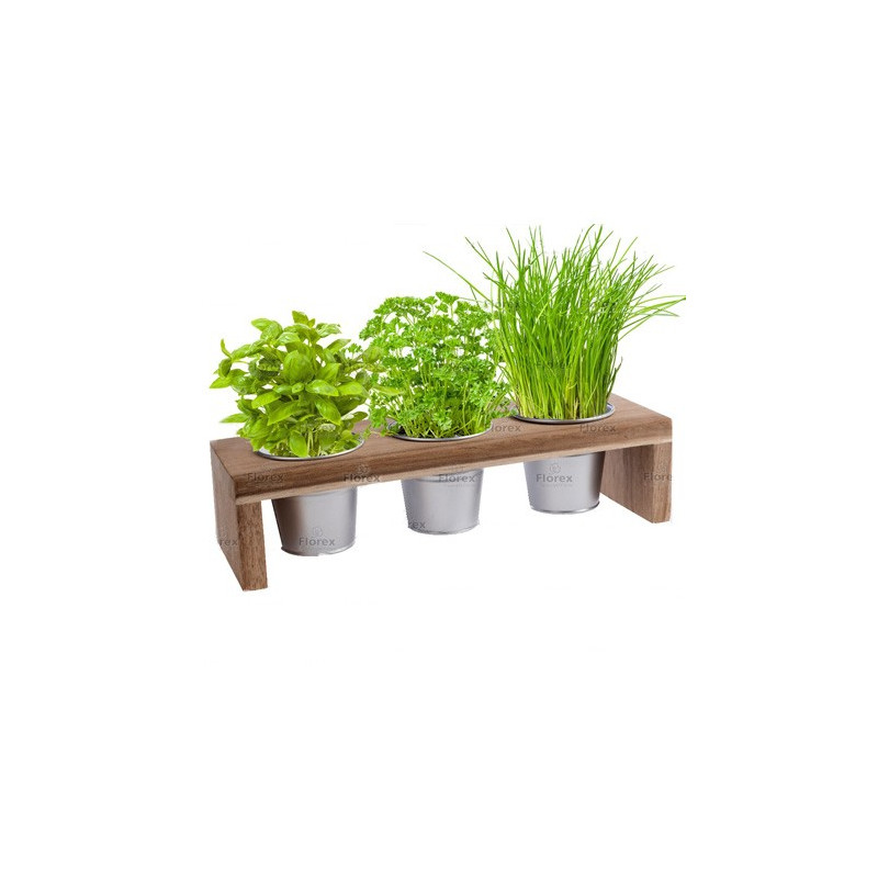 Kit Fines Herbes En Pots Support Bois
