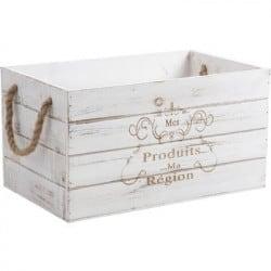 Caisse en bois vieilli teinté blanc
