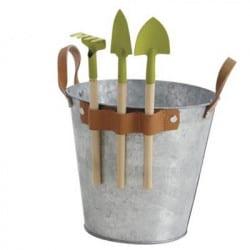 Seau en zinc pour enfant avec 3 outils