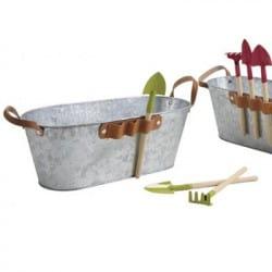 Jardinière en zinc pour enfant avec 3 outils