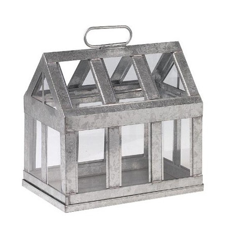 Mini serre en zinc et verre