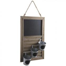 Jardinière en bois avec tableau noir et 3 pots