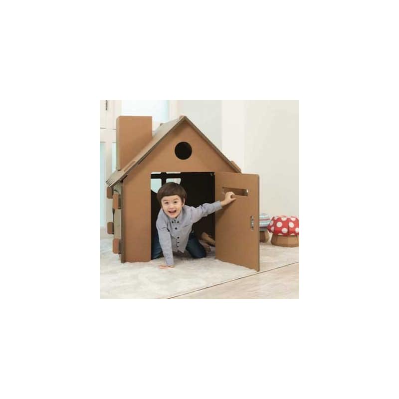 Cabane enfant en carton à colorier