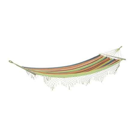 Hamac à barres rayé multicolore avec franges