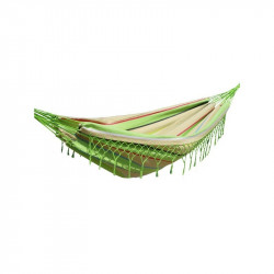 Hamac simple à franges rayé vert