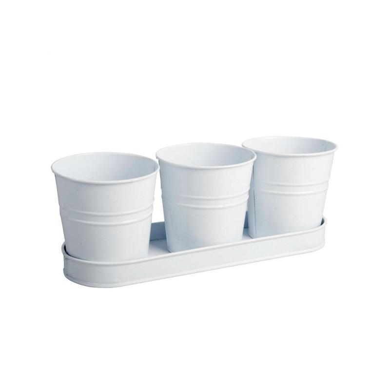 Set 3 pots zinc blanc