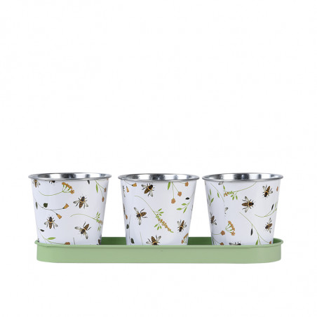 Jardinière en zinc 3 pots abeilles
