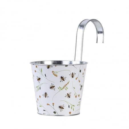 Cache pot en zinc abeilles avec crochet