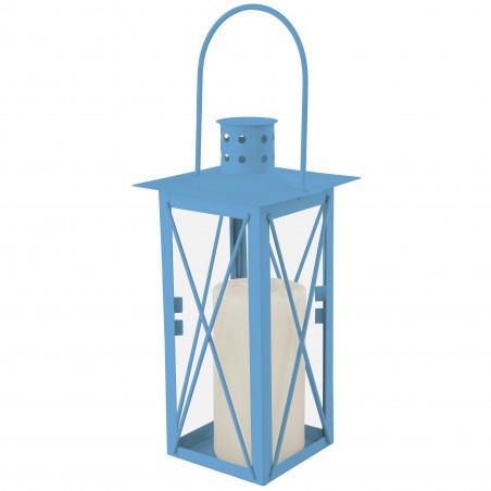 Lanterne déco jardin bleue