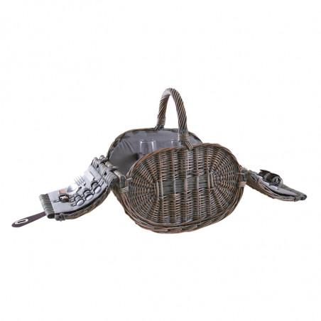 Panier pique-nique osier gris 2 couverts