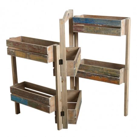Jardinière triptyque en bois recyclé