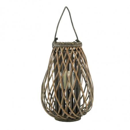 Lanterne osier gris avec photophore