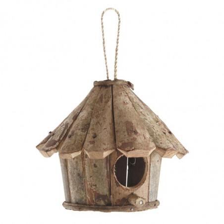 Nichoir oiseaux rond maison en bois