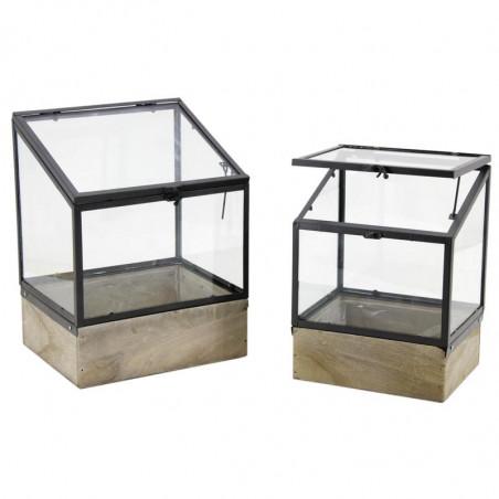 Serre en métal bois et verre h 31 cm