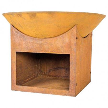 Brasero acier oxydé et socle stockage bois