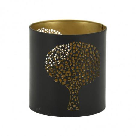 Photophore arbre métal doré et noir 9 cm