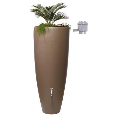Récupérateur d'eau 2 en 1 Taupe 300L avec Bac à Fleur Amovible