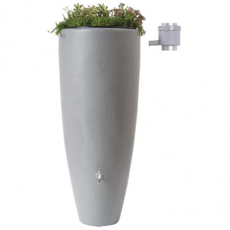 Récupérateur d'eau 2 en 1 Gris 300L avec Bac à Fleur Amovible
