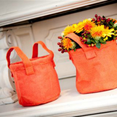 Cache-pot en toile orange 13,5 cm