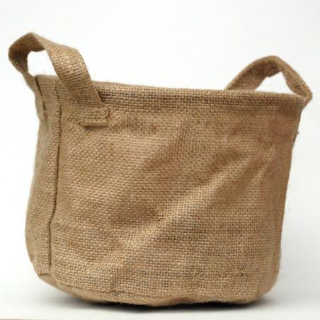 Cache-pot en toile marron 19cm