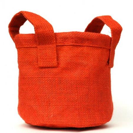 Cache pot en toile orange 19 cm