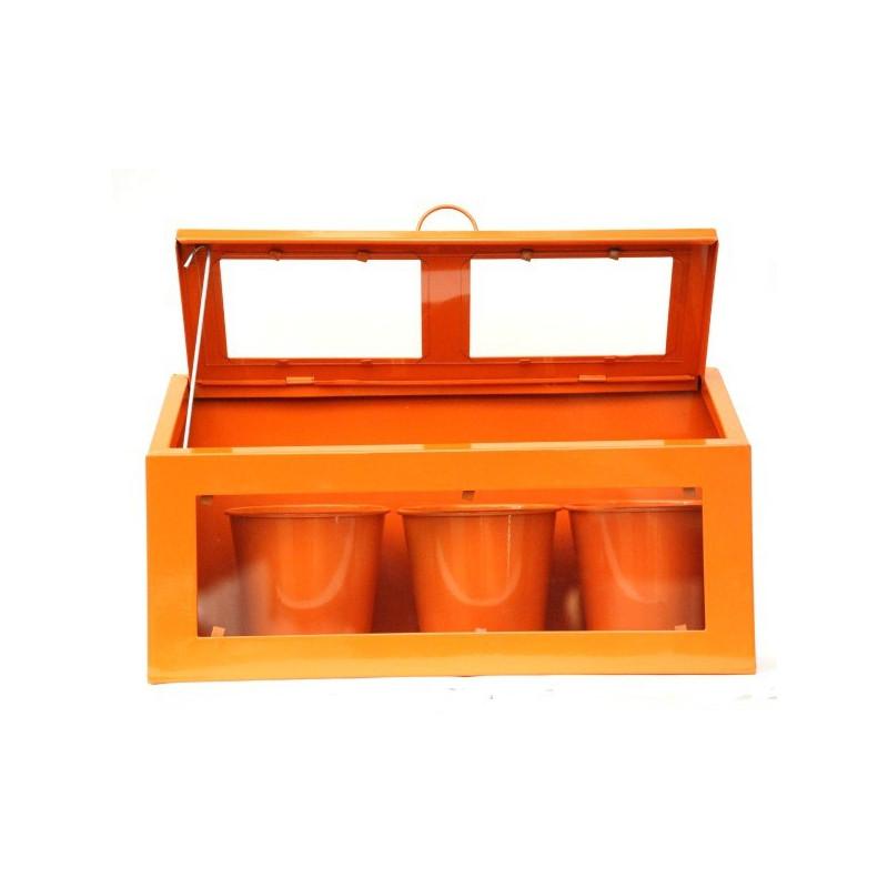 mini serre d 39 appartement orange avec 3 pots. Black Bedroom Furniture Sets. Home Design Ideas